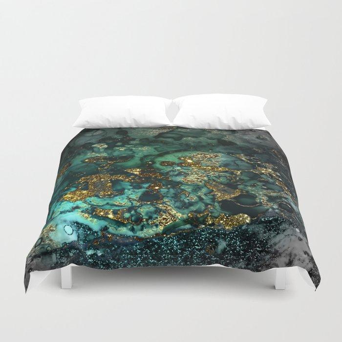 Gold Indigo Malachite Marble Bettbezug