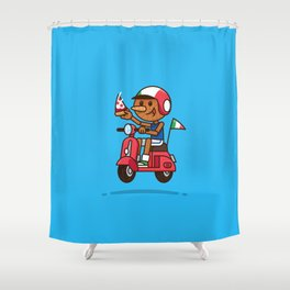 Italy! Pinocchio Eat Pizza and Ride Vespa Shower Curtain