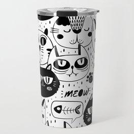 White And Black Cat Pattern Travel Mug
