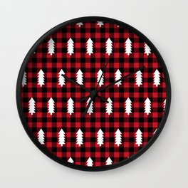 Camping Forest cabin chalet plaid red black and white minimal hipster gifts for festive christmas Wall Clock