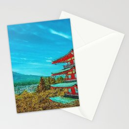 'Snow-capped Mount Fuii and Japanese Pagoda, Honshu, Japan' landscape painting Stationery Cards