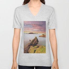 Dingle Peninsula Poster, Ireland Travel Print, Wild Atlantic Way, Dunquin Pier, Ring of Kerry, County Kerry, Irish Artwork, National Park Unisex V-Neck