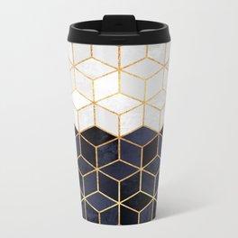 White & Navy Cubes Metal Travel Mug
