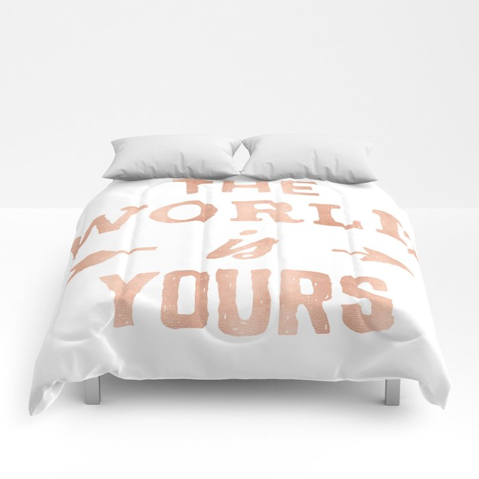 f7cfecda The World is Yours Pink Rose Gold Quote Comforters by naturemagick ...