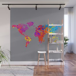 Rainbow World Map on Gray Background Wall Mural