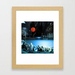 3d Art Digital Art Cave Lake Framed Art Print
