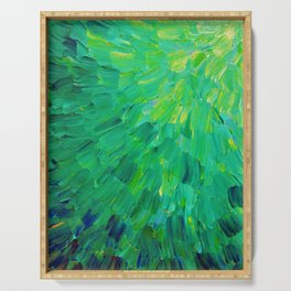 SEA SCALES in GREEN - Bright Green Ocean Waves Beach Mermaid Fins Scales Abstract Acrylic Painting Serving Tray