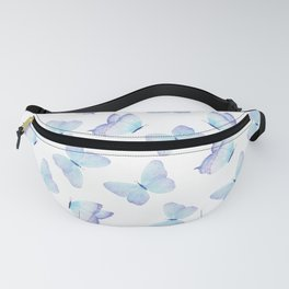 Lilac aqua blue watercolor hand painted butterfly Fanny Pack