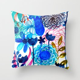Blue Burst Throw Pillow