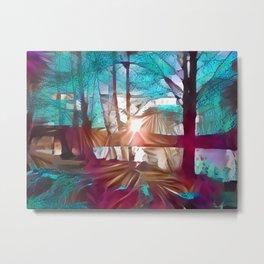 Sun sets by a blue light pond Metal Print