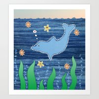 dolphin Art Prints featuring Dolphin by Danielle Waterworth