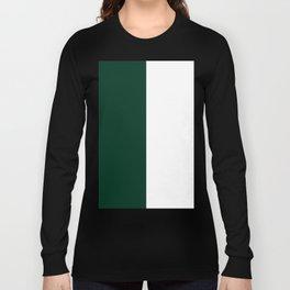 White and Deep Green Vertical Halves Long Sleeve T-shirt