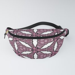 White Abstract Geometric Flower Pattern Fanny Pack