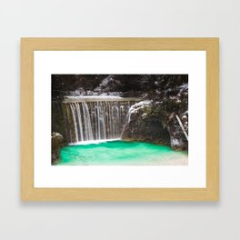 Waterfall stunning turquoise water lake Jasna, Slovenia Framed Art Print