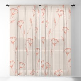 Flower repeat pattern in burnt orange inspired by tattoo style, boho chic illustration Sheer Curtain
