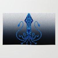 squid Area & Throw Rugs featuring Squid by Bahadır Tez