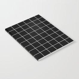 Grid Pattern Line Stripe Black and White Minimalist Geometric Stripes Lines Notebook