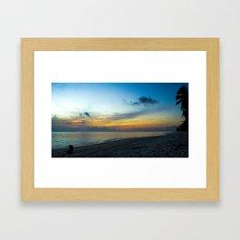 Island Dog watching sunset, beach at Ara Tapu, Arorangi District, Rarotonga, Cook Islands Framed Art Print