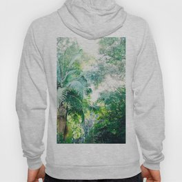 Lost in the jungle bright green tropical palm tree forest photography Hoody