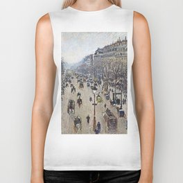 Camille Pissarro - Boulevard Montmartre, Morning, Cloudy Weather Biker Tank