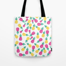 Pink yellow hand painted tropical pineapple pattern Tote Bag