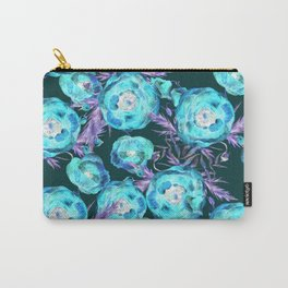 Abstract Poppy Pattern Blue And Black Carry-All Pouch