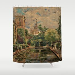Alcázar Royal Palace & Gardens Seville, Spain by Manuel Garcia y Rodriguez Shower Curtain
