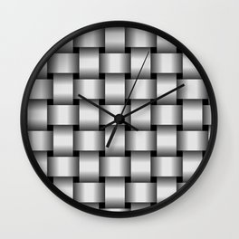 Large Pale Gray Weave Wall Clock