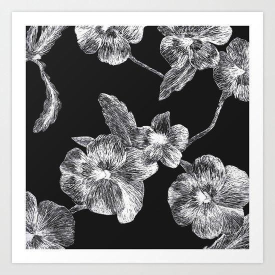 Flower Scratchboard Art Print
