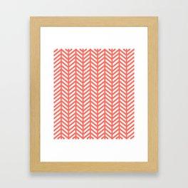 Herringbone - Living Coral Framed Art Print