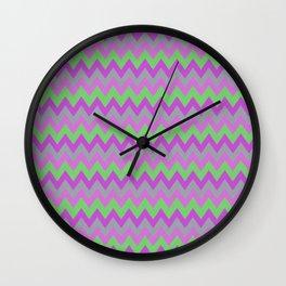 pink purple and green chevron Wall Clock