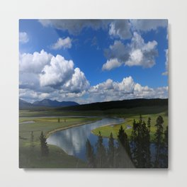 Meadow With Yellowstone River Metal Print
