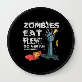 Halloween Zombie Vegan Vegans Cool Gift Quote Wall Clock