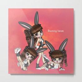 Bunny Love Spring Triplets Metal Print