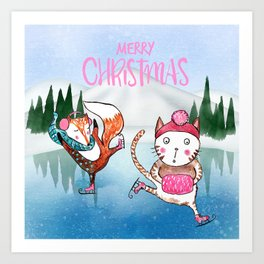 Merry Christmas from Cat and Fox Art Print
