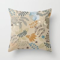 floral pattern Throw Pillows featuring Floral pattern by De Assuncao création