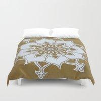 golden Duvet Covers featuring Golden by Aries Art