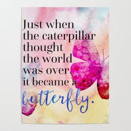 Became A Butterfly Motivational Quote Poster