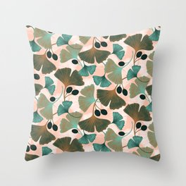 Ginkgo leaves and berries seamless pattern Throw Pillow