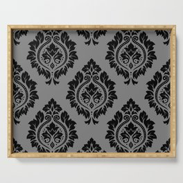 Decorative Damask Pattern Black on Gray Serving Tray