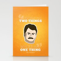 ron swanson Stationery Cards featuring Ron Swanson by irosebot