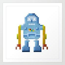 Blue pixel robot #1 Art Print