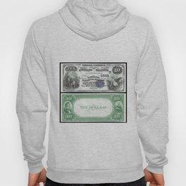 1882 U.S. Federal Reserve Ten Dollar Farmers Bank of Lake Geneva - Ben Franklin drawing electricity Hoody