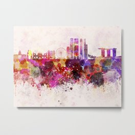 Singapore V2 skyline in watercolor background Metal Print