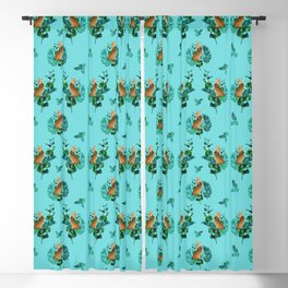 Tropical Leaf Clouded Leopard Pattern Turquoise BG Blackout Curtain