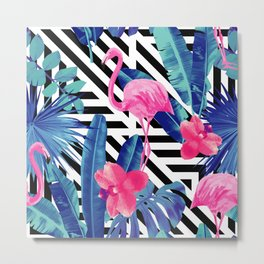 Tropical Pink Flamingo Pattern Metal Print