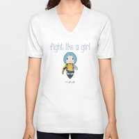 borderlands V-neck T-shirts featuring Fight Like a Girl | Maya - Borderlands by ~ isa ~