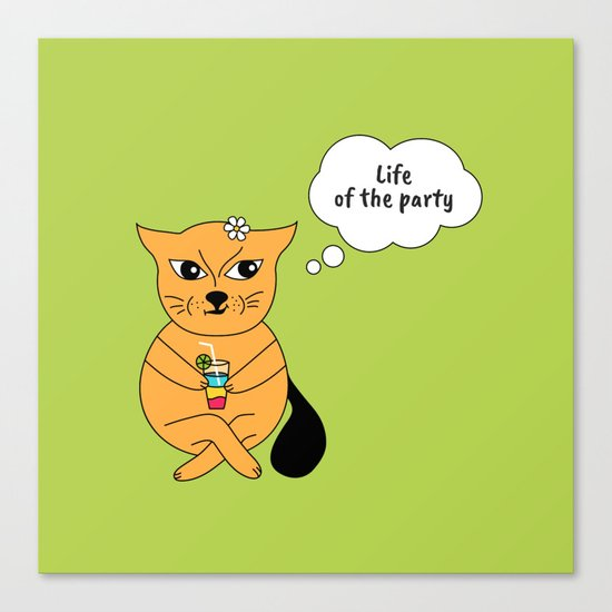 Beatrice. The cat that thinks... Party Canvas Print