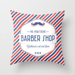 Mr. Moustache Barber Shop Throw Pillow