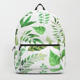 Watercolor Botanicals Leaves Greenery Backpack